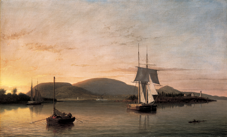 12.Fitz Henry Lane, Camden Mountains from the South Entrance to the Harbor, 1859, 97.3.30