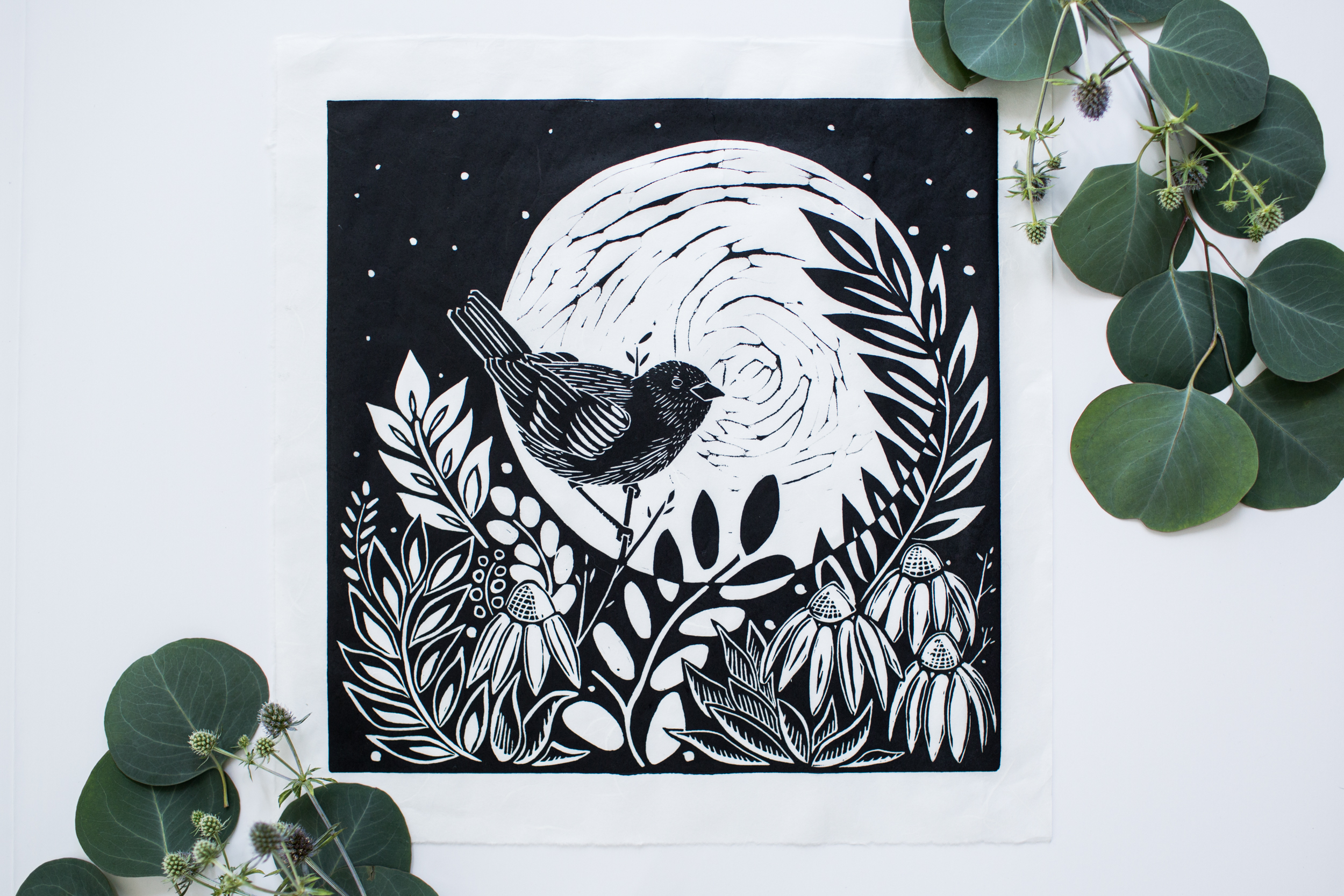 "The Warbler & The Moon, 12"" x 12"" Linocut on Unryu"