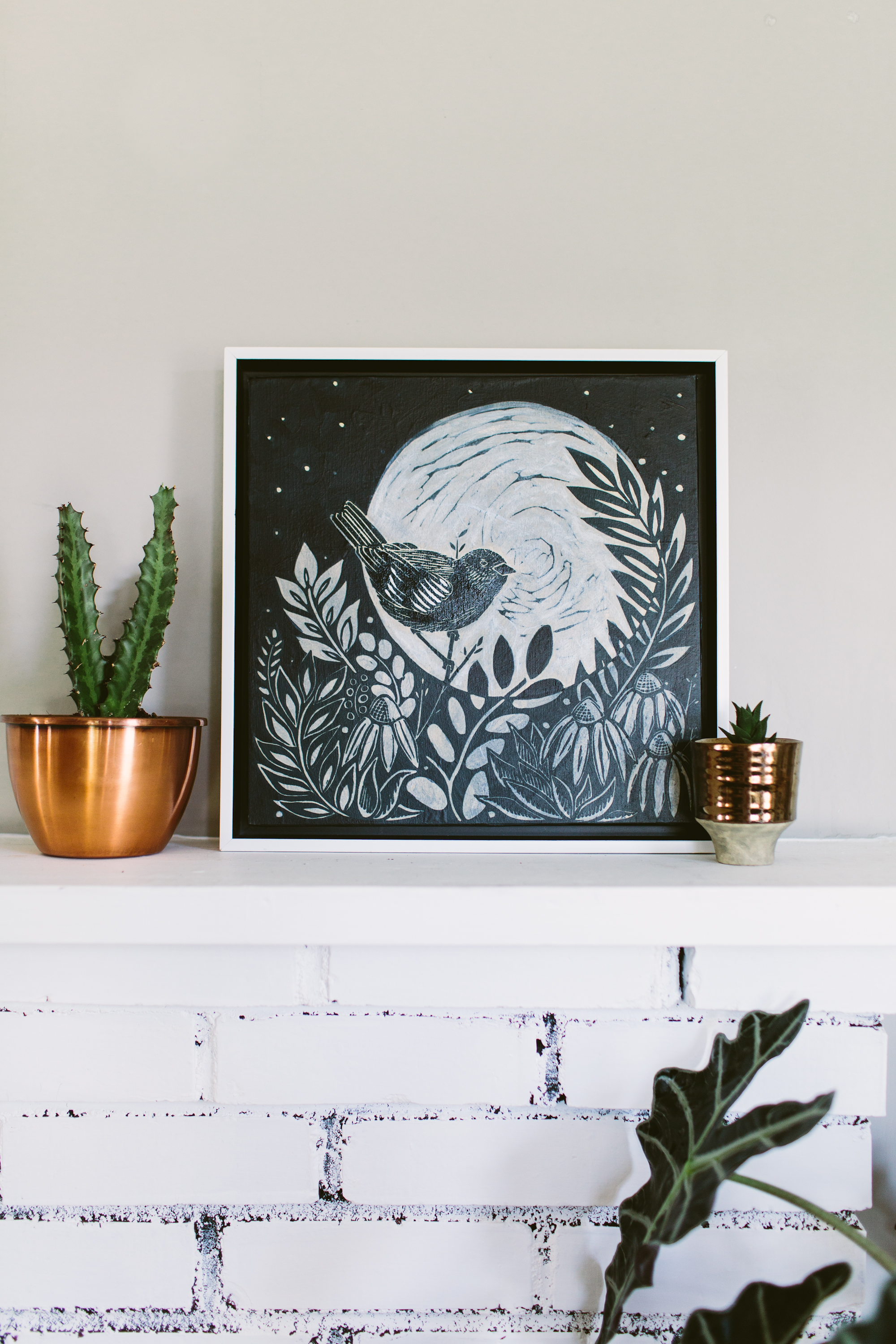 Mixed media piece, using The Warbler and the Moon.  Photo by Angela Zion Photography