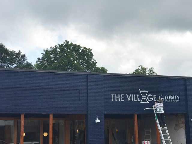 With all the rain last week, I have a bit more to go to wrap up the new @villagewgvl signage. I'm in awe of the beautiful space @lindseymonty has created inside - both for your spirit and you eyes (including the most gorgeous mural ever by @glorydayloflinstudio😍). Let's hope the weather cooperates when it's time for me to be up on the ladder! Thank you so much for these awesome pics, @nycfoodiefinder!! . . . #villagewgvl #painting #yeahthatgreenville #gvltoday #handpaintedsigns #villageartist #greenvilleartist #greenvillesc #mural #muralartist #paintthetown