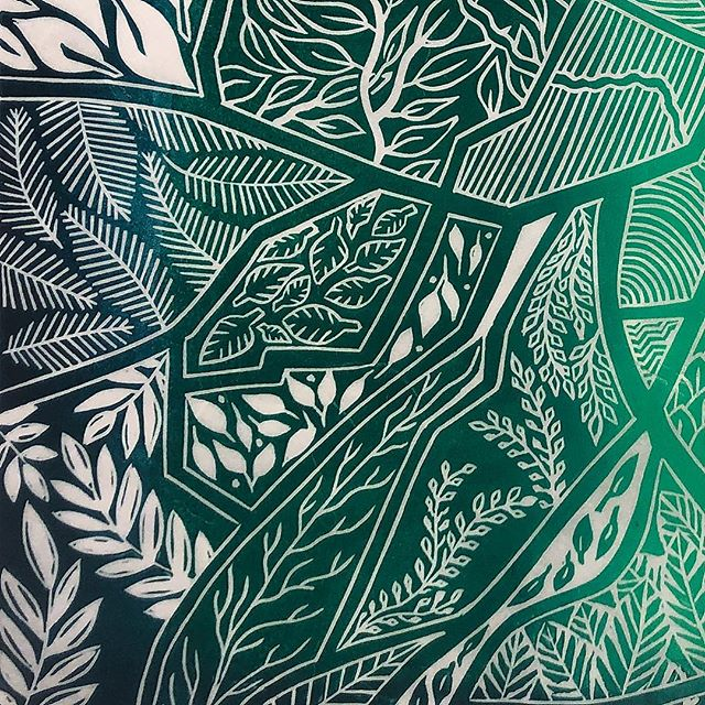 Texture and patterns and a whole lot of green! This is a detail of a new print that will make its debut at the marvelous Indie Craft Parade in September! It was such a fun project, I can't wait to show everyone the full piece! . . . . #pattern #indiecraftparade #inspiredbynature #doitfortheprocess #yeahthatgreenville #gvltoday #details #leaves #natureart #greenvillesc #villagewgvl #exploretocreate #livelocal #greenville360 #exploreourearth #naturelovers #letstalkart #green #printmaking #prints