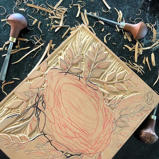 Goal this week: carve all day every day! First block up - a nest! It's going to be a serious challenge, but  I love it and can't wait to see how it turns out!  Mad dash prep for @makersco_ 's #indiecraftparade! I can't wait for this fabulous event! . . . #nest #printmaking #linocut #prints #inspiredbynature #exploretocreate #natureart #yeahthatgreenville #villagewgvl #showprep #greenvillesc #artistofinstagram #carveouttimeforart #doitfortheprocess