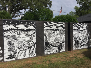 Everyday is a New Beginning - This mural is the fourth in the Stone Mural Project, in conjunction with Stone Academy's 5th grade class and PTA, and Furman University Art Department. Located at Hammack Law Firm, 223 W. Stone Ave, Greenville, SC. Completed in May, 2017. I created a three block print depicting the habitat and life cycle of the South Carolina state butterfly, the Eastern Tiger Swallowtail.