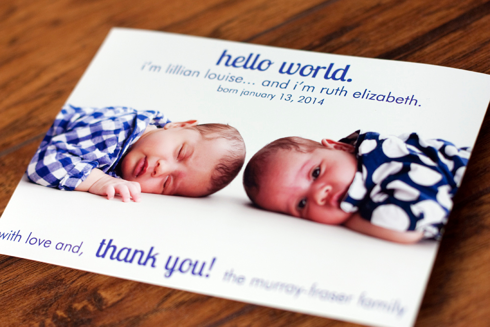 Lilian & Ruth's Birth Announcement