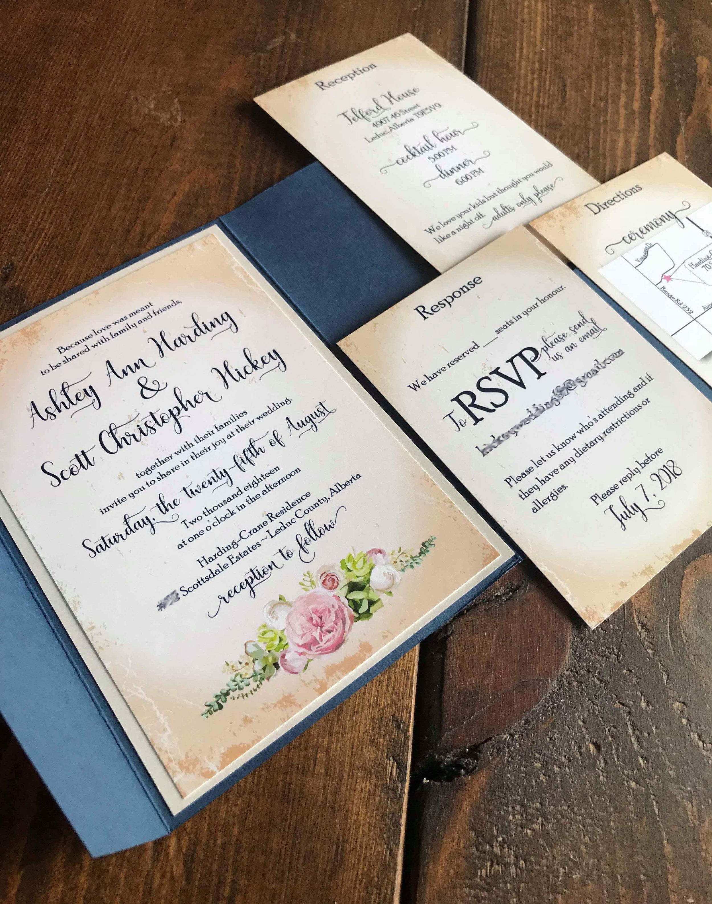 Custom Wedding Invitation Alex Tebow Designs