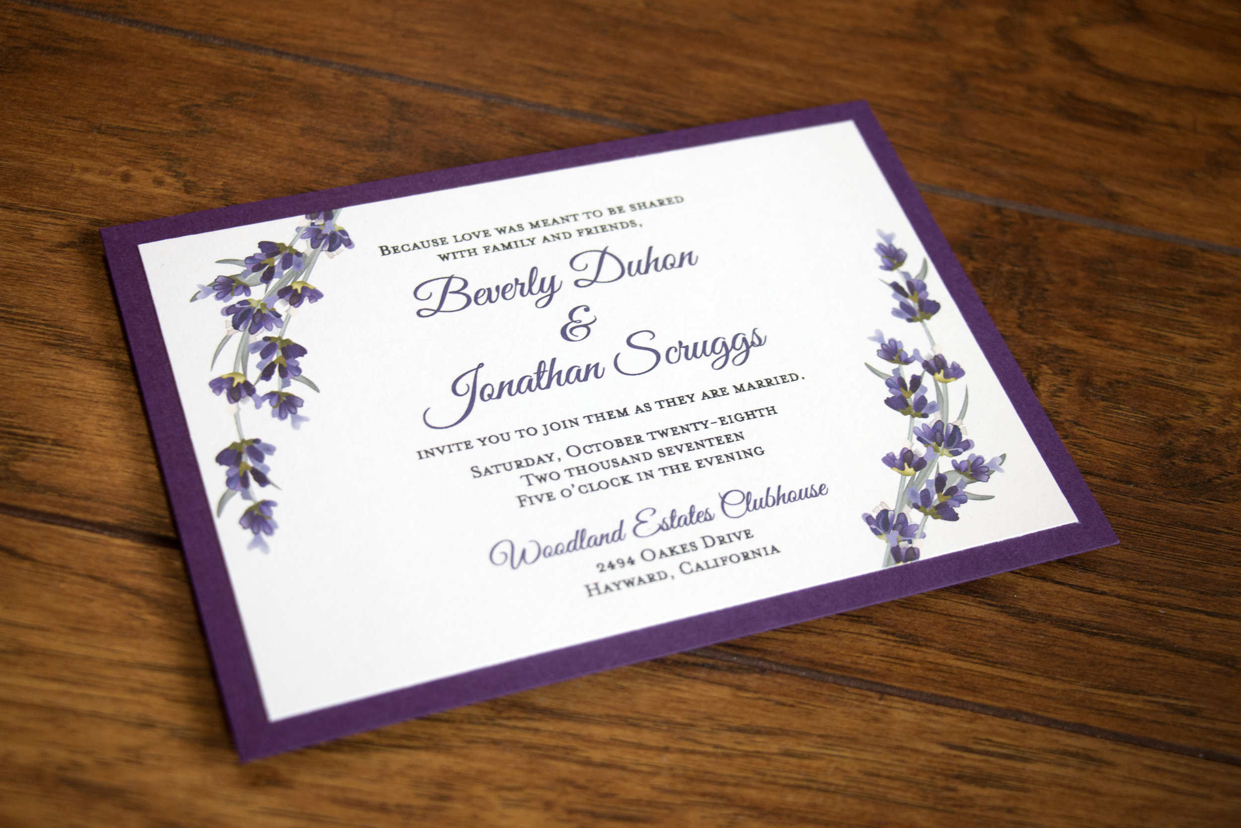 Bev & Jon Lavender Wedding Invitation