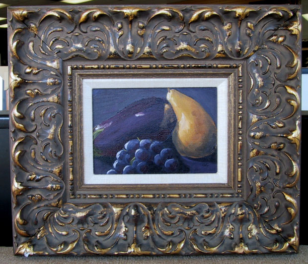 One of the 5x7 paintings I actually sold, eggplant, Bosch pear, and grapes in an extravagant frame. Sometimes it was fun to get to play with scrap pieces of moulding.