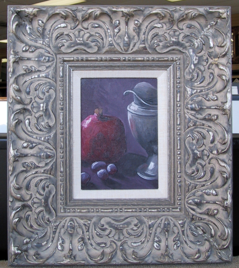 The other little canvas I sold, this one was my favorite with the little silver pitcher and pomegranate. I'm a little sad I don't have them anymore, or at least have a higher quality photo, but I needed the money at the time.