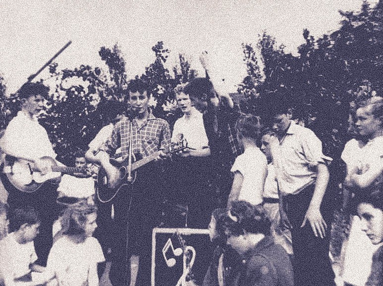left: John Lennon, at 16 years of age, in 1957, with his Gallotone Champion acoustic guitar. right: The Quarrymen , playing their now famous gig at St Peter's Church Fête, July 1957.