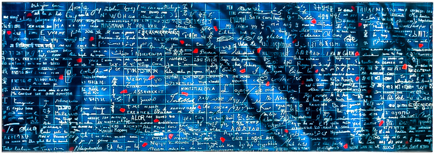 "Le Mur des Je T'Aime  - 'The Wall Of ""I Love You""' at Montmartre, Paris. 280 different written languages saying I love you."