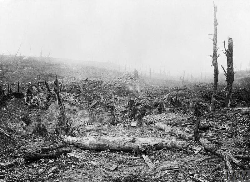British troops in the ruins of Beaumont Hamel on the Somme battlefield, two weeks after its capture on 13 November 1916.