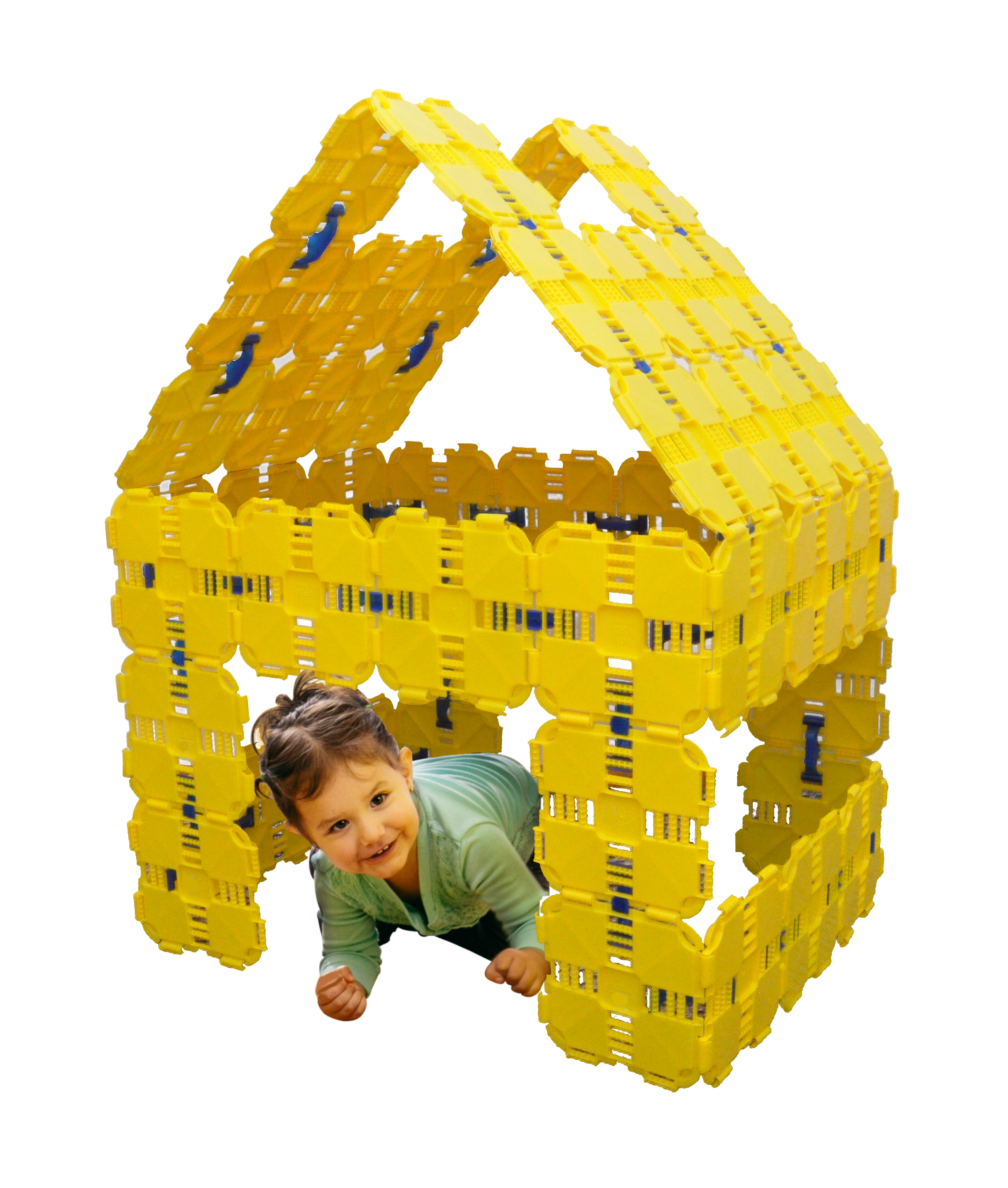 A house built from yellow Fort Boards