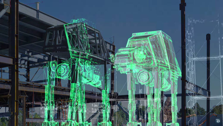A preview of the AT-AT's being built at Disneyland.  Image Source : TimeOut