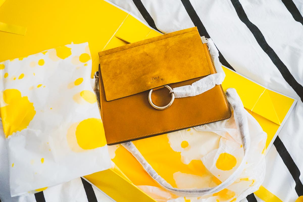 Selfridges Chloe Faye Medium Leather Satchel and Packaging