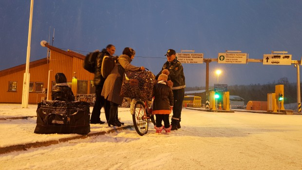 Bicycle-born refugees in Kirkenes, Norway.