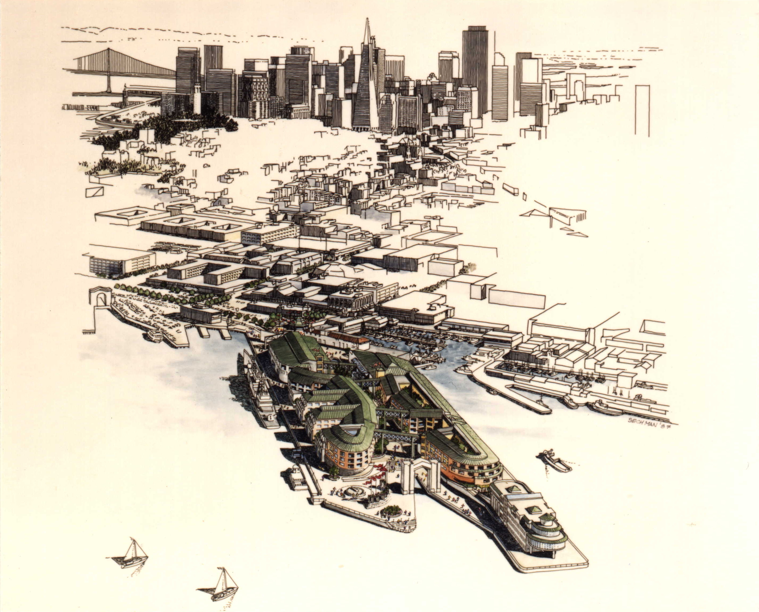 Proposal for Pier 45 Design Competition, Fisherman's Wharf, San Francisco, CA, 1975