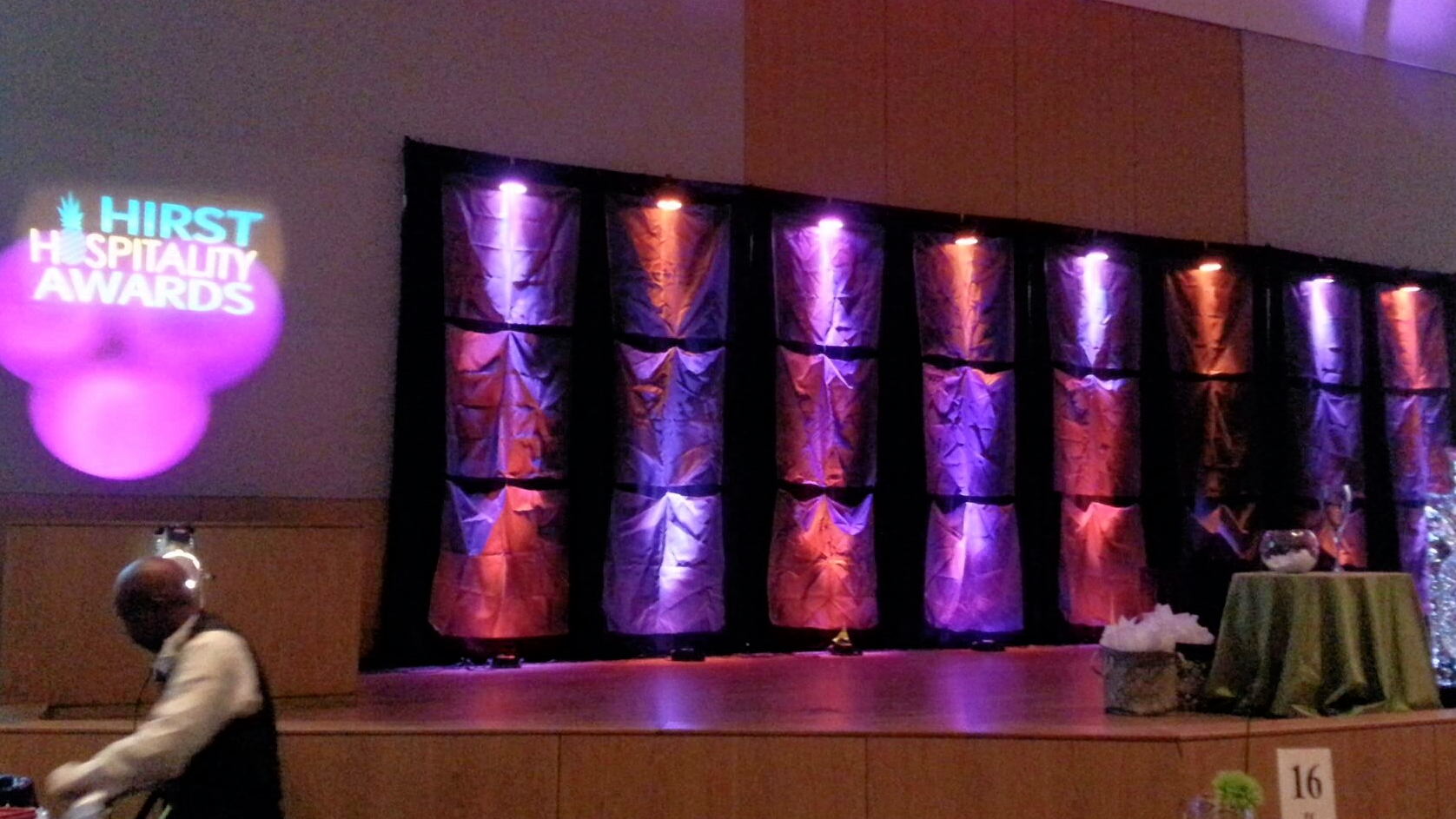 Oklahoma Restaurant Association. Custom Backdrop, Gobo Projection, Moving Effects.