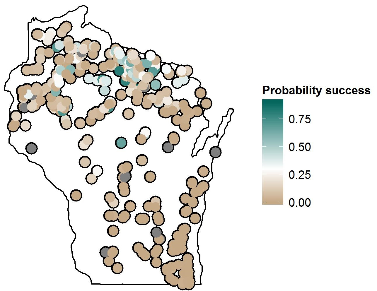 Predicted probability of natural walleye recruitment success in Wisconsin lakes based on lake size, water temperature growing degree days, conductance, and shoreline complexity.