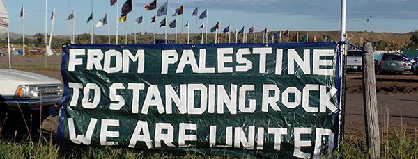 Activists from around the world, including Palestine, are expressing solidarity with the water protectors (photo courtesy Mondoweiss.net).