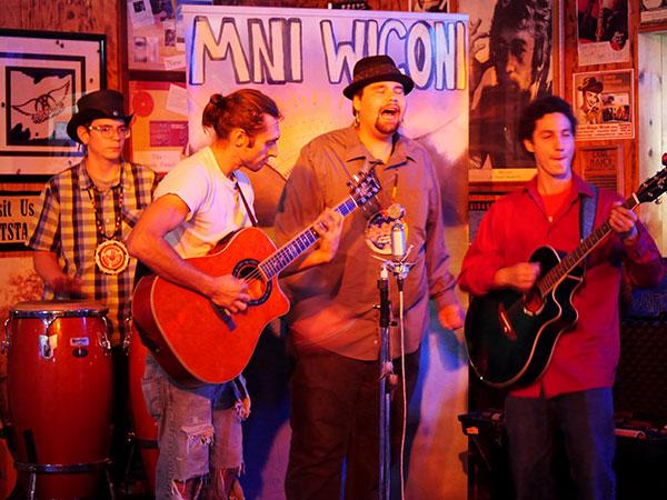 Caleb Blackbird, Tanner Scott, Cody Blackbird and Taino Torres at Last Stage West (photo Jordan Elgrably).