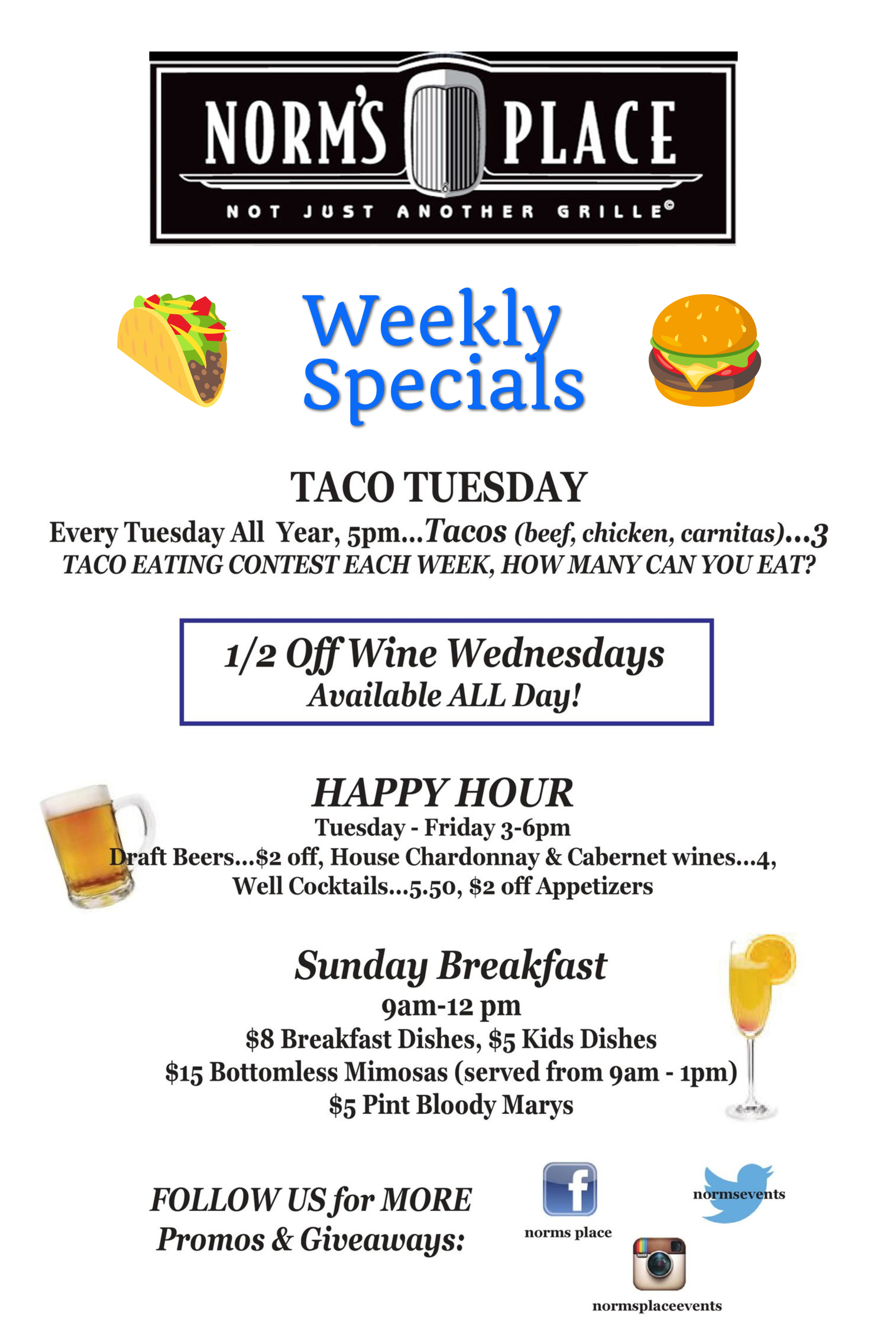 Norm's Place Danville Weekly Promotions