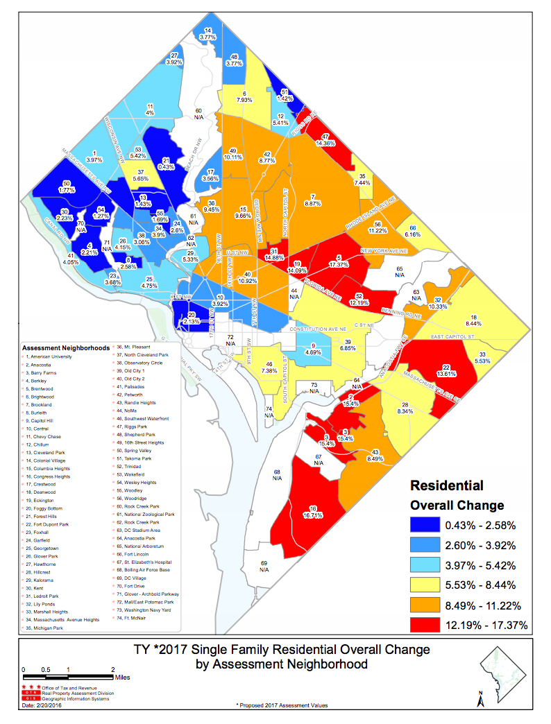 This map shows the breakdown of increases in assessed property values by neighborhood.  Red neighborhoods increased in value the most, while blue neighborhoods increased the least.