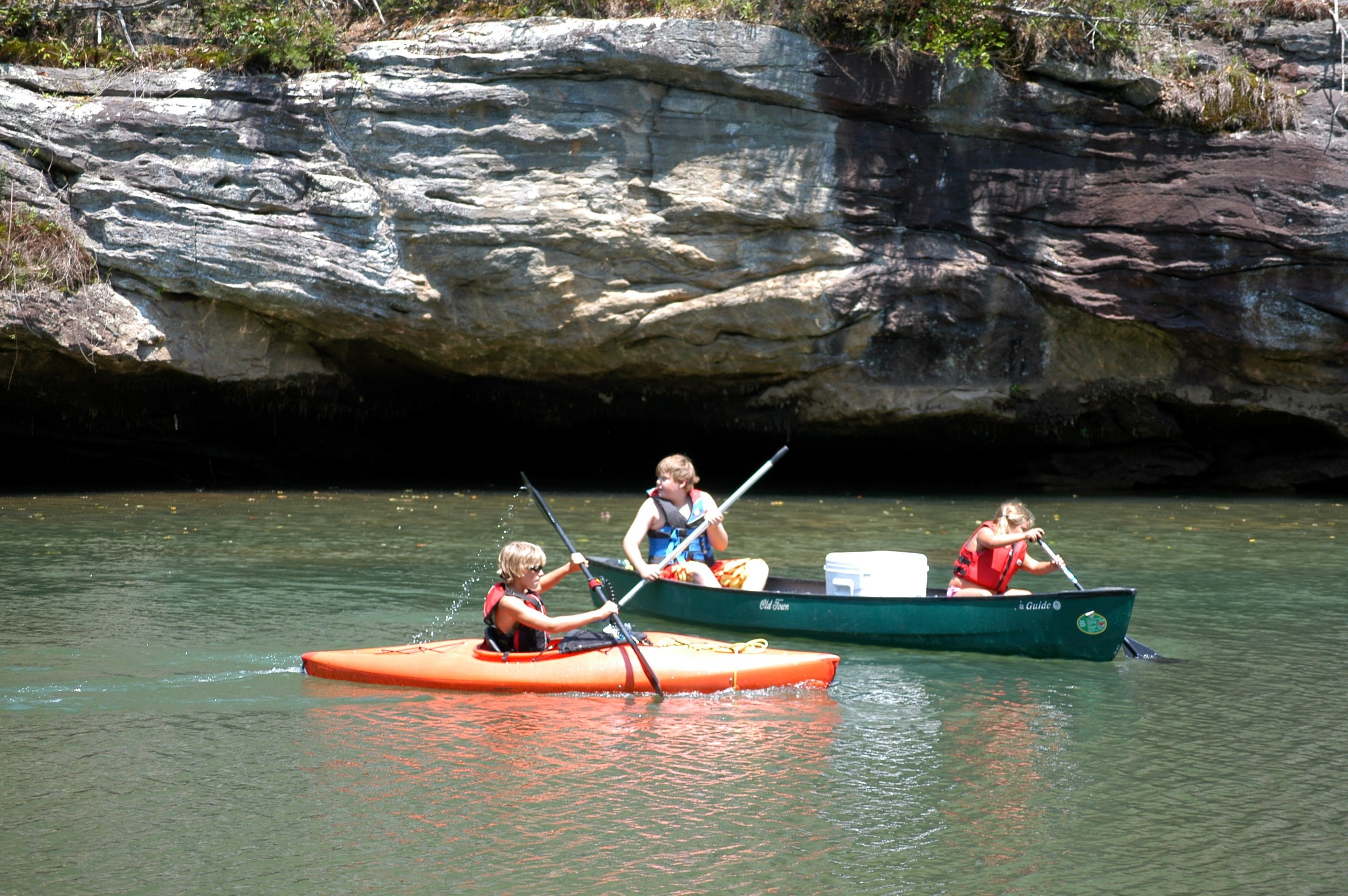 Gentle water makes CRC the perfect place for family kayaking and canoeing.