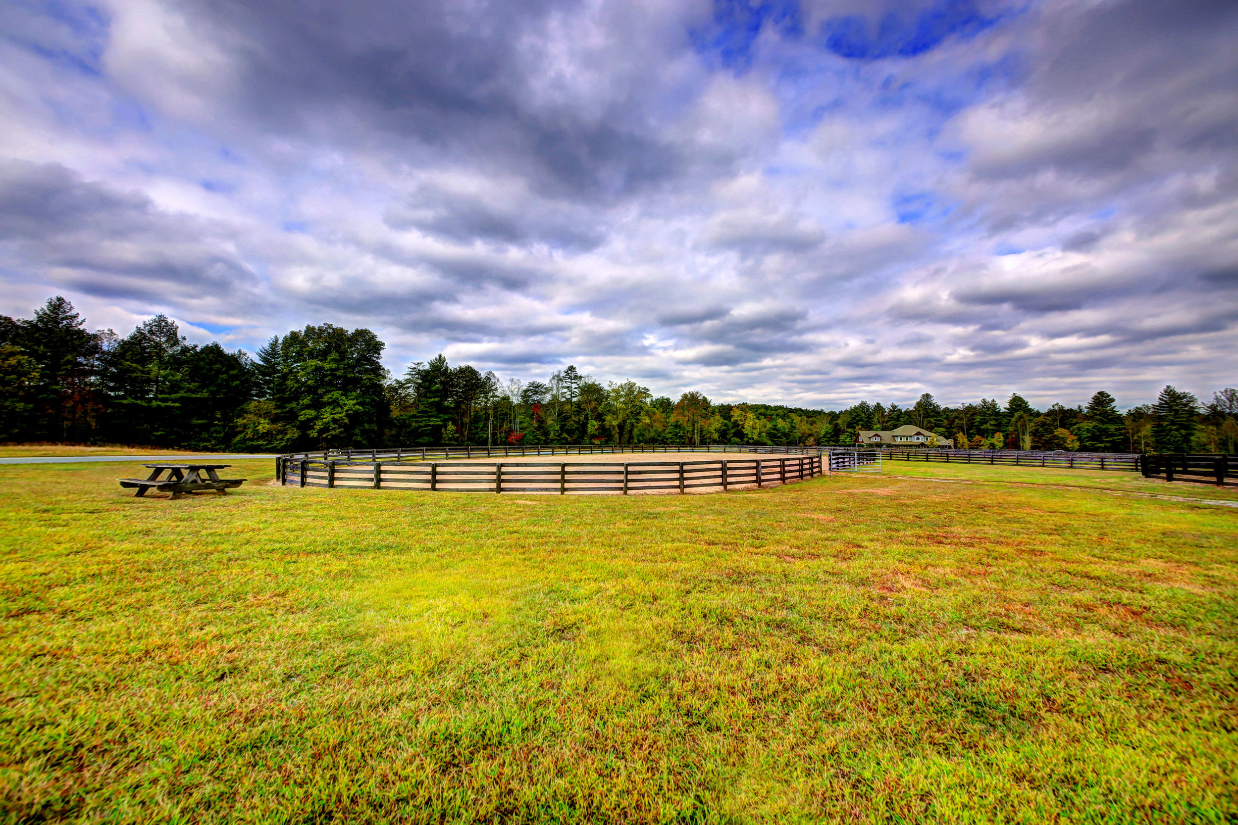 Horse pastures at the Catawba River Club Stables.