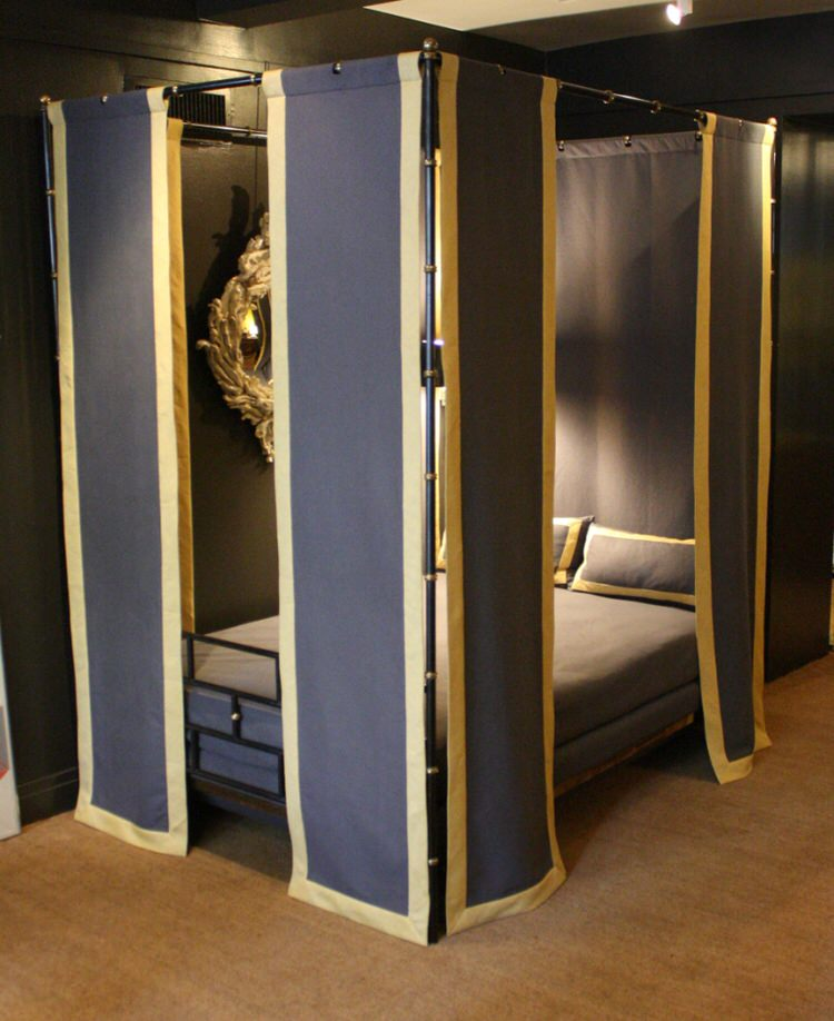 BRASS AND STEEL CANOPY BED