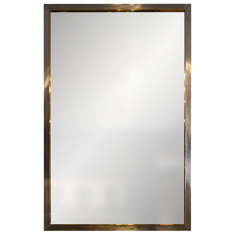 BRASS MOUNTED BRUSHED ALUMINUM MIRROR