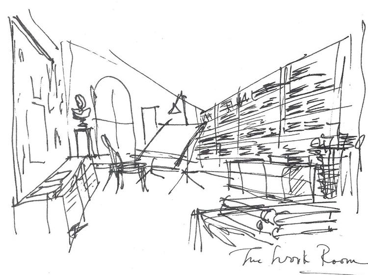 The Work Room, Sketch by Albert Hadley