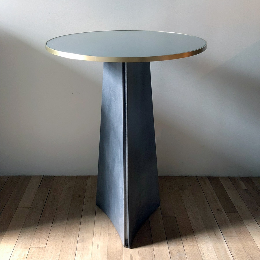 Circular Steel Glass Brass End Table Gerald Bland