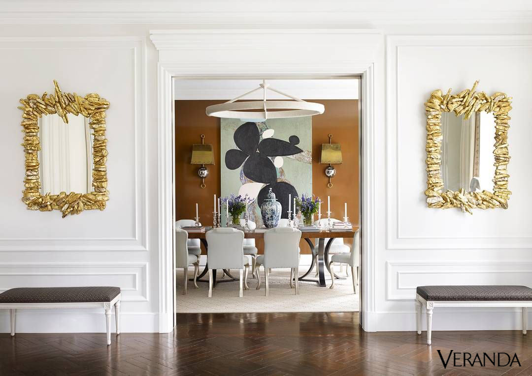 Pair of Gilded Ceramic Mirrors by Eve Kaplan in  Veranda Jan 2018.