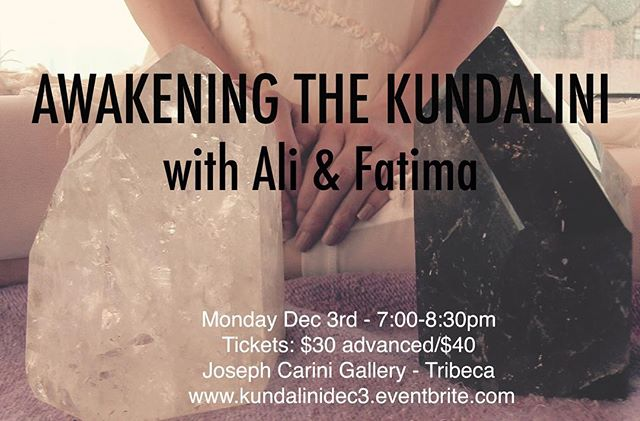 Awakening the Kundalini session happening Dec 3rd in TriBeCa at the Joseph Carini Gallery. For those of you that are intrigued by Kundalini energy, and what exactly that entails, please join us. Fatima and I both had spontaneous kundalini awakenings and are now harnessing an energy that is activating and supporting those that are on the path of awakening. Our groups always surprise us. For more details please check out www.kundalinidec3.eventbrite.com #kundalini #kundaliniawakening #kundalinirising #spiritualawakening #awakening #spirituality #spiritual #consciousness #higherconsciousness #higherself #divinefeminine #divine #sisterhood