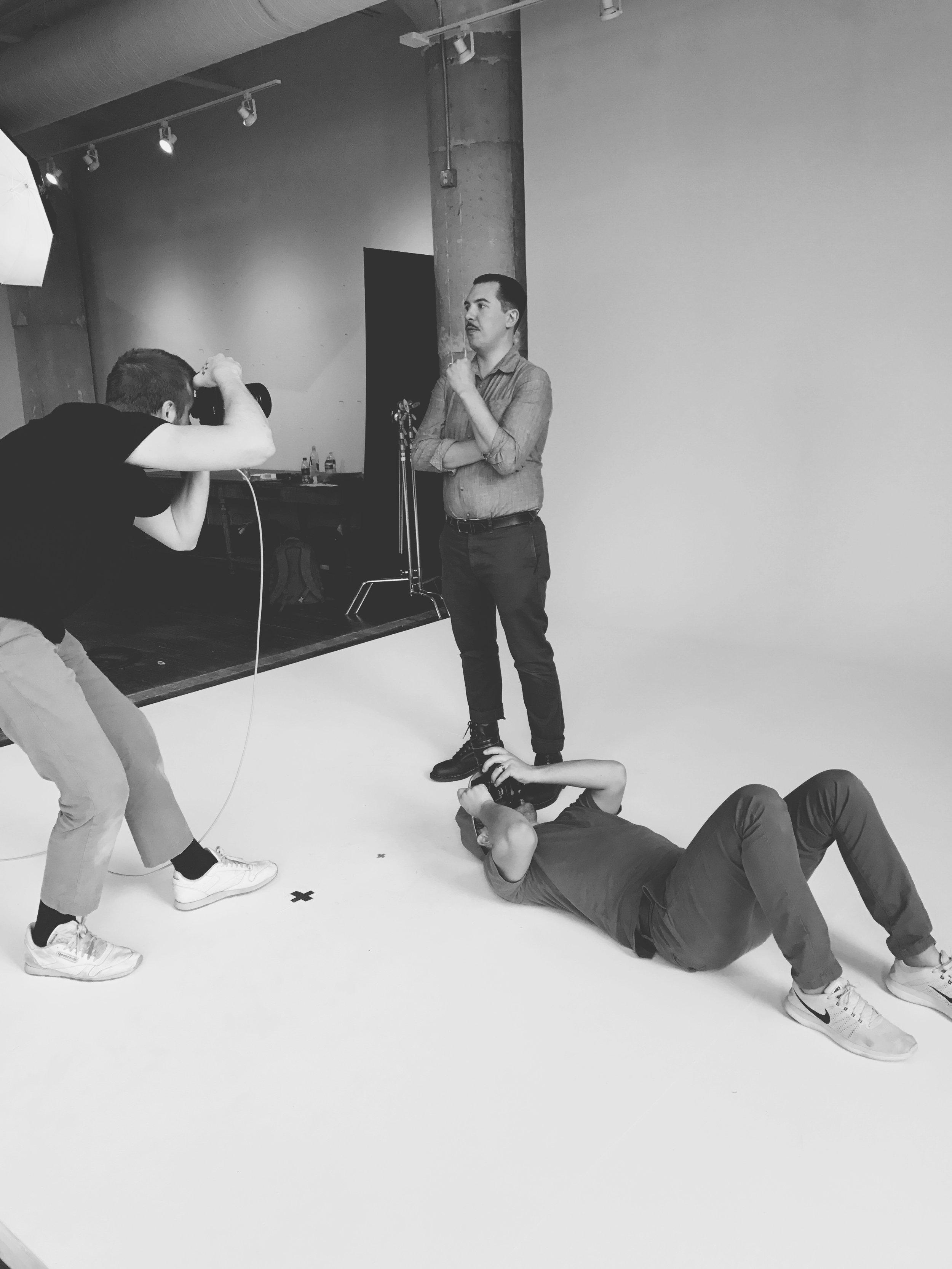 Photographer Erik Tanner shooting James Beard nominee mixologist Miles McQuarrie (Kimball House) as filmmaker Ben Brinker gets his shot, as well.