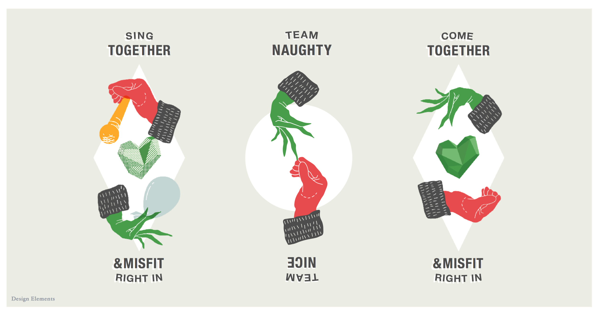 """Our inclusivity-themed campaign was titled """"Come Together and Misfit Right In"""", inviting people to choose Team Naughty (adult holiday festivities) or Team Nice (family-friendly events). This art was commissioned as banners to line the Ponce-facing side of the building and was produced by Atlanta agency Public School."""