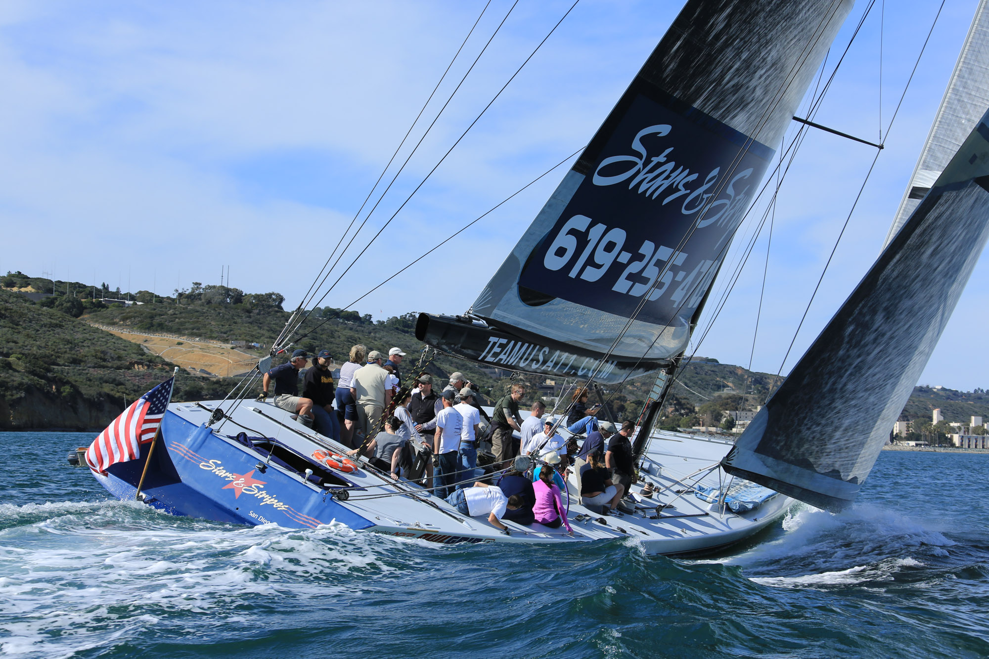 America's Cup sailing aboard Stars & Stripes in San Diego