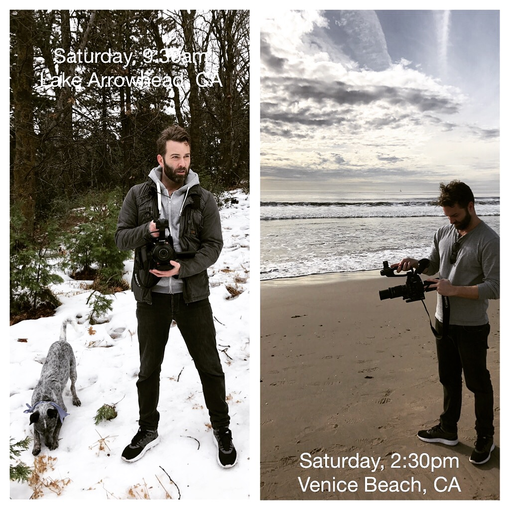 John Lavin shooting in snowy mountains and sunny beach hours apart.