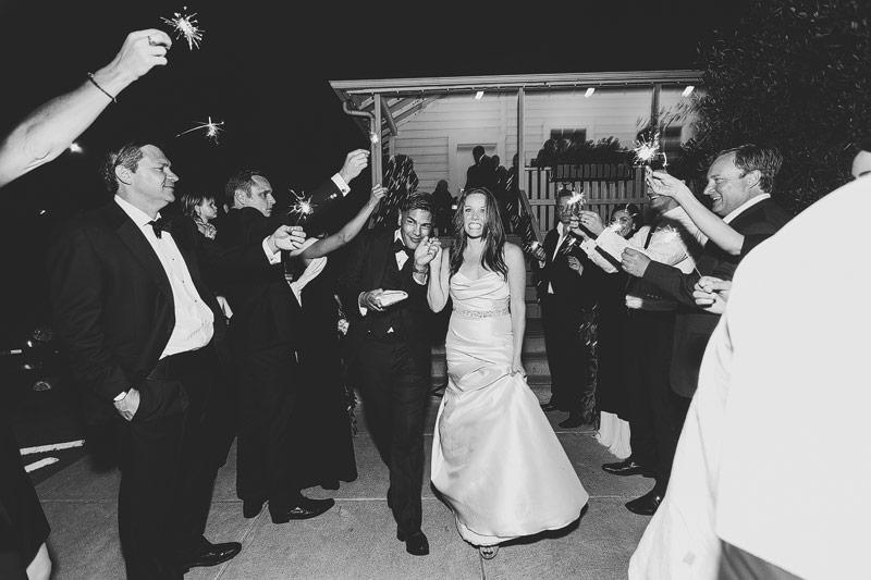 Presidio social club wedding exit sparklers