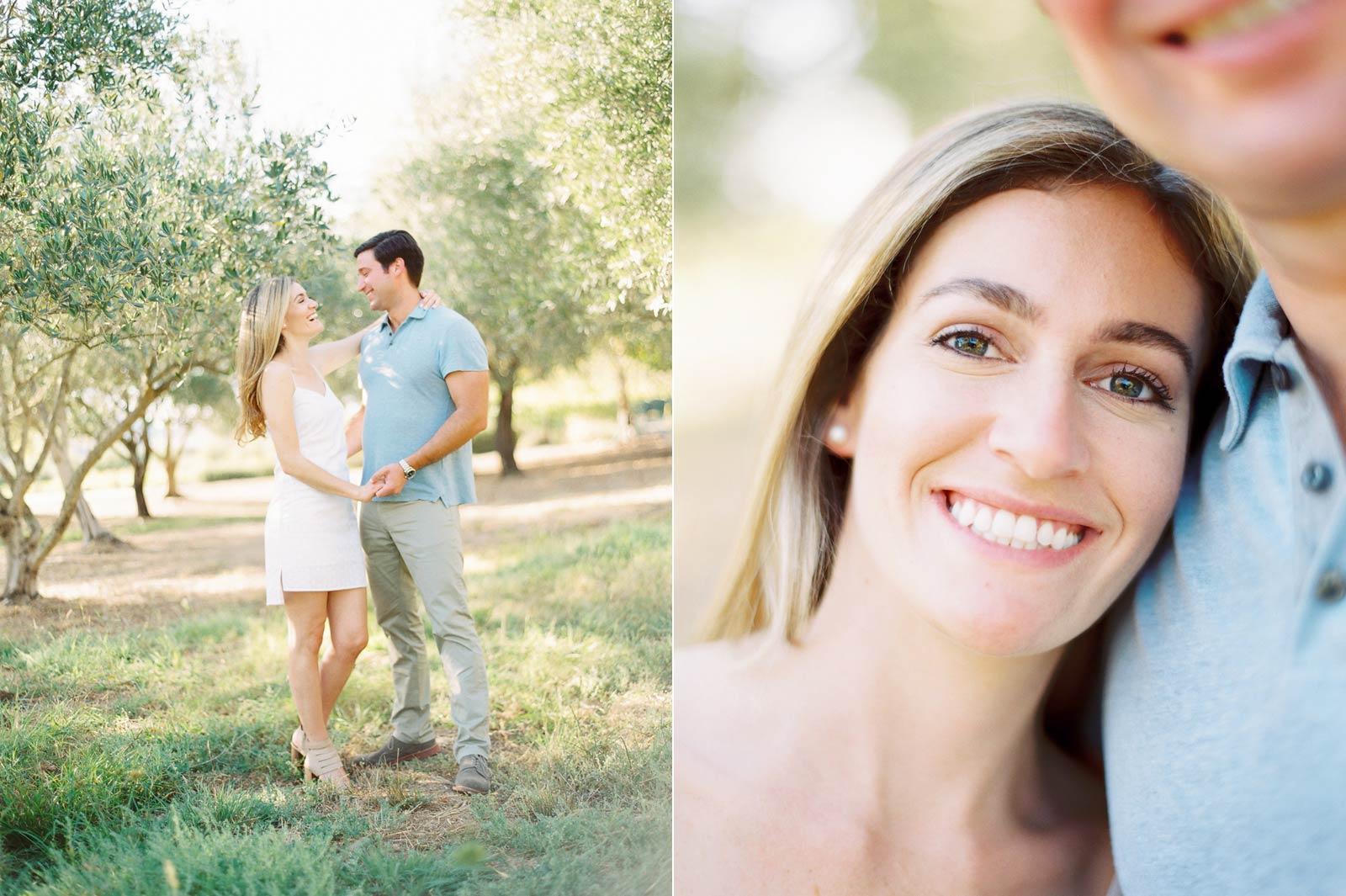 napa engagement olive trees