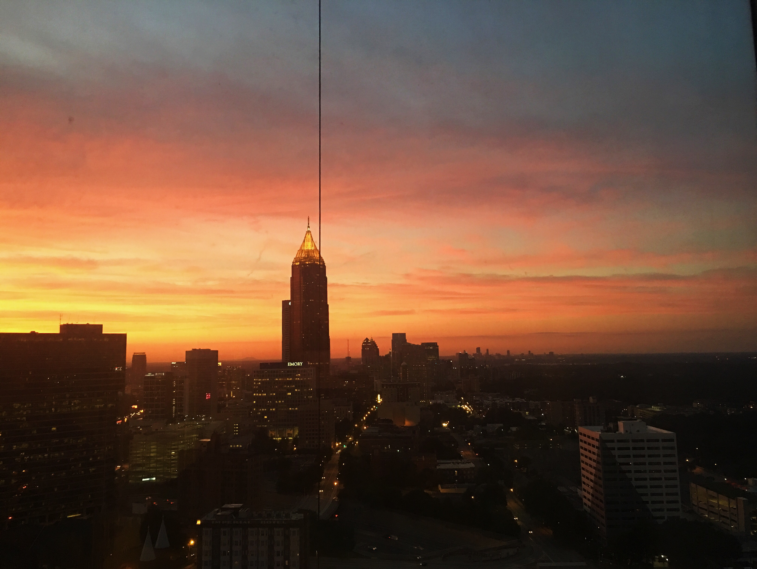 Our sunset view of downtown Atlanta from the Skyline view room