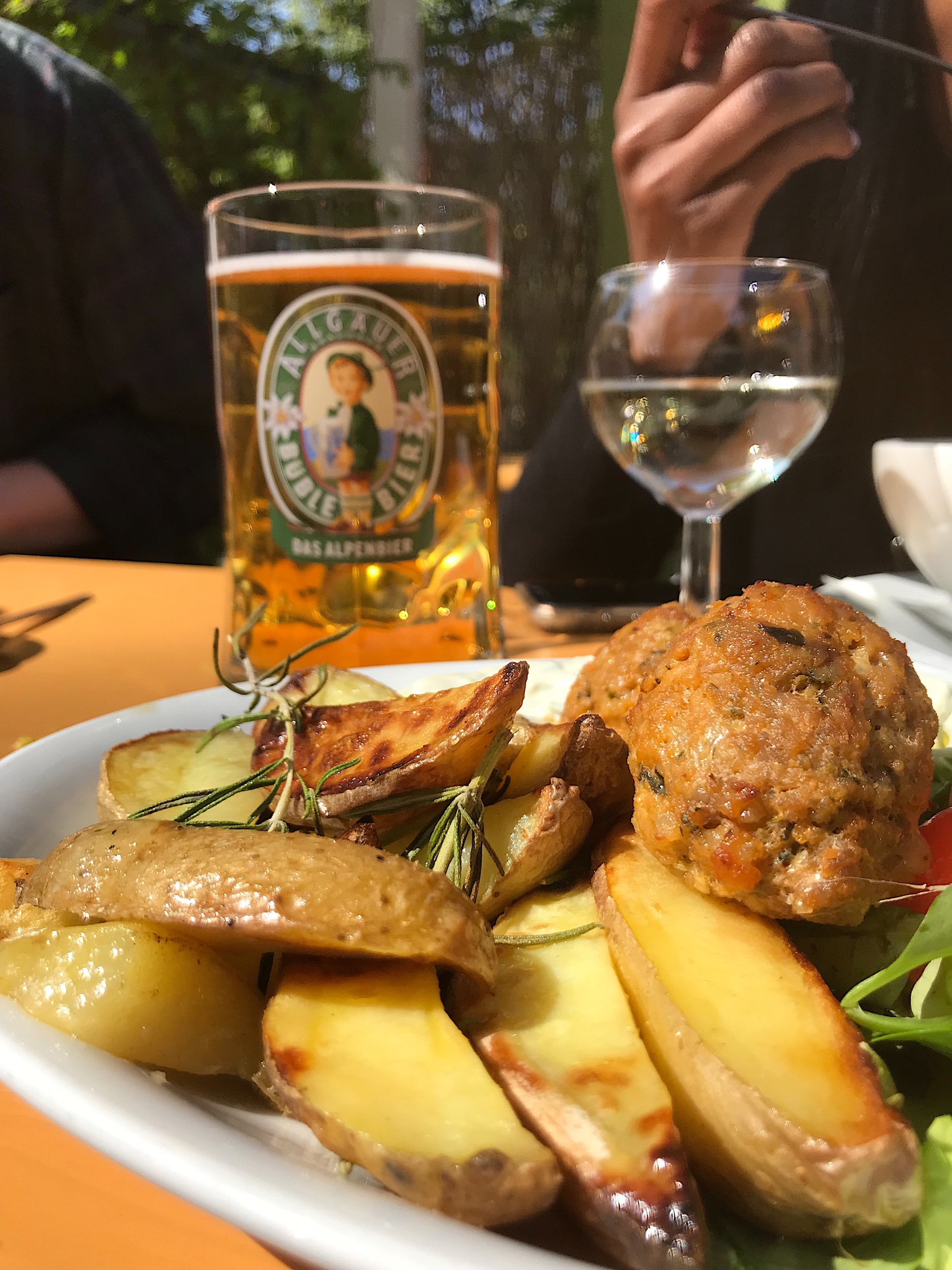 Our lovely tour guide helped me decode the German menu and I went for the 'Bauble' beer with rosemary potatoes & meatballs. It was actually quite good!