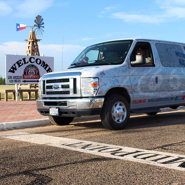 We've passed the Midpoint! Located in Adrian TX, it is equidistance between Los Angelas and Chicago. Thank you to @thebigtexan for legendary food and rest. Sweeping into Oklahoma! #saveroute66