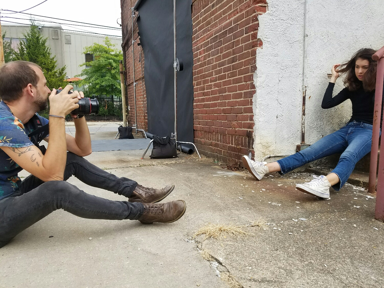 Above: Sean Scheidt and Wilhelmina Philadelphia Model Corinne Dolan