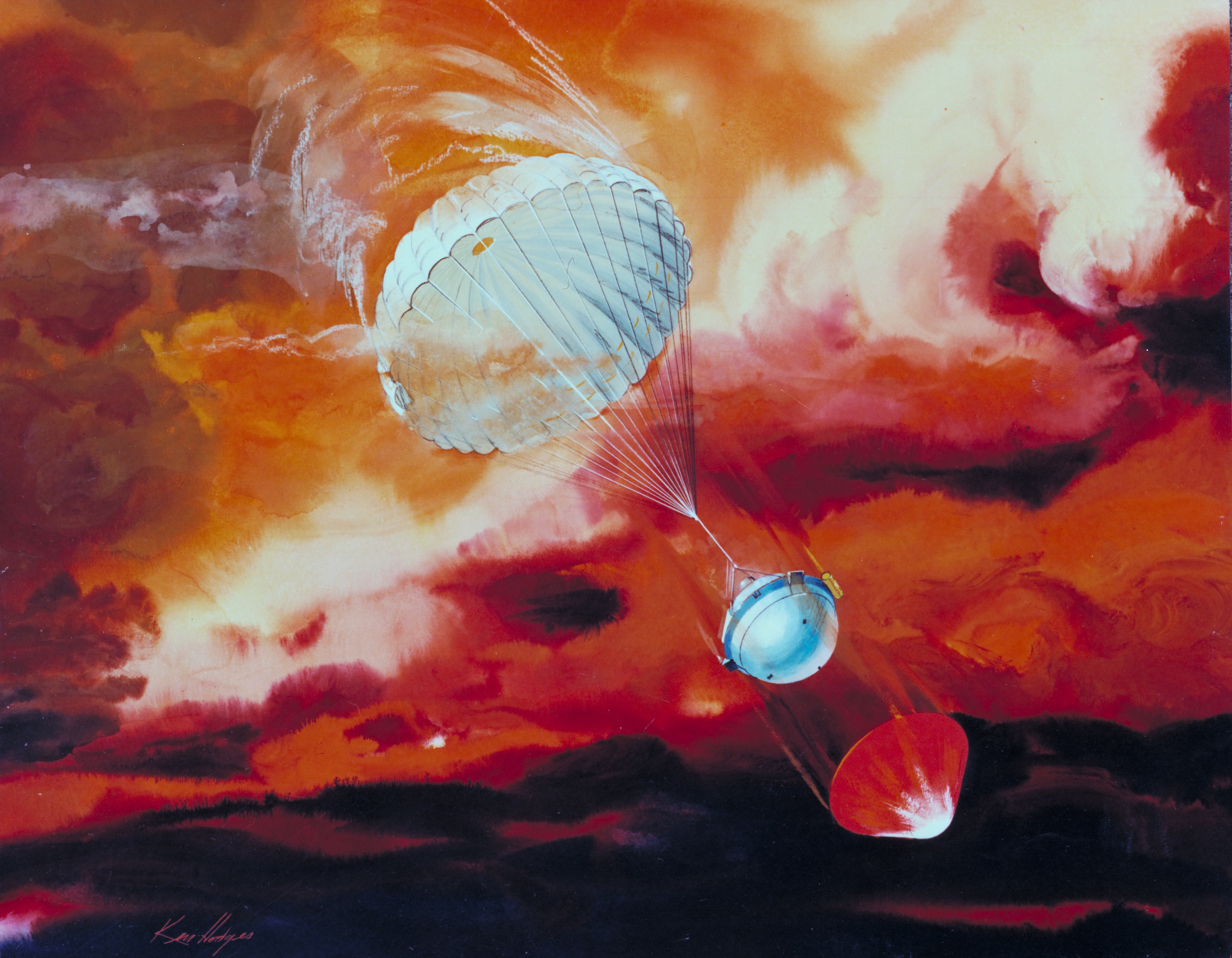 """Celebrating the 20th anniversary of the successful deployment of a probe into Jupiter's atmosphere, this episode is a series of interviews with the engineers who worked on this challenging, historic mission. Image: """"Galileo Probe - AC81-0174"""" by NASA Artwork by Ken Hodges."""