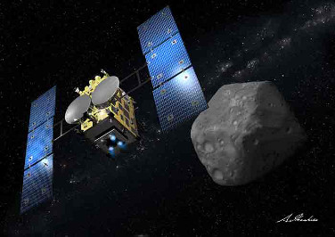 Dr. Driss Takir  stops by the show. He explains how he looks for water that's molecularly bound up in the rocks on asteroids. He also tells us about the  Hayabusa-2 mission , which will put rovers on the the surface of asteroid Ryugu.  Image: JAXA