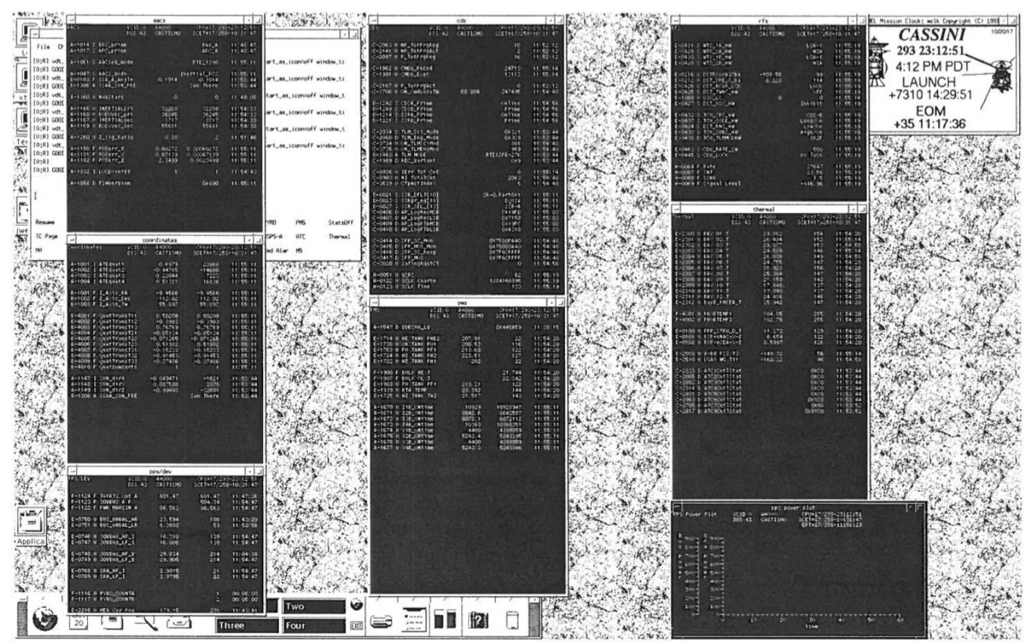 Julie's view of her desktop while she was monitoring Cassini's telemetry.  Credit: Julie Webster