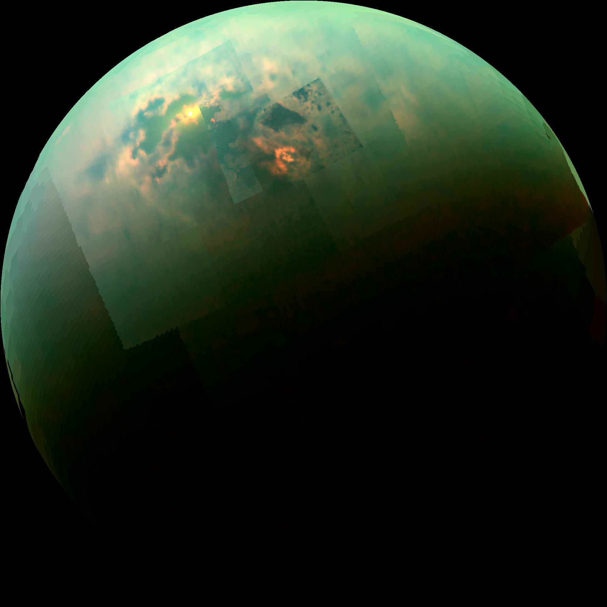 Dr. Alejandro Soto  returns to the show to talk about how lakes on Titan and on Earth influence the nearby atmosphere. He talks about how lakes create breezes that allow for sailing on Earth, and how the situation changes on Titan.  Titan's seas reflect the sun's light.  Cassini spacecraft  photo, credit  NASA / JPL-Caltech / University of Arizona / University of Idaho .