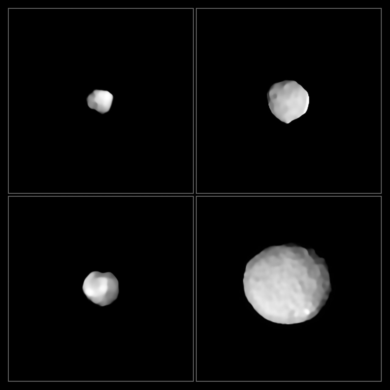 Some of the  asteroid images taken with the SPHERE instrument . Clockwise from top left: 29 Amphitrite, 324 Bamberga, 2 Pallas, and 89 Julia. Images collected as part of an ongoing ESO large program by Pierre Vernazza et al.