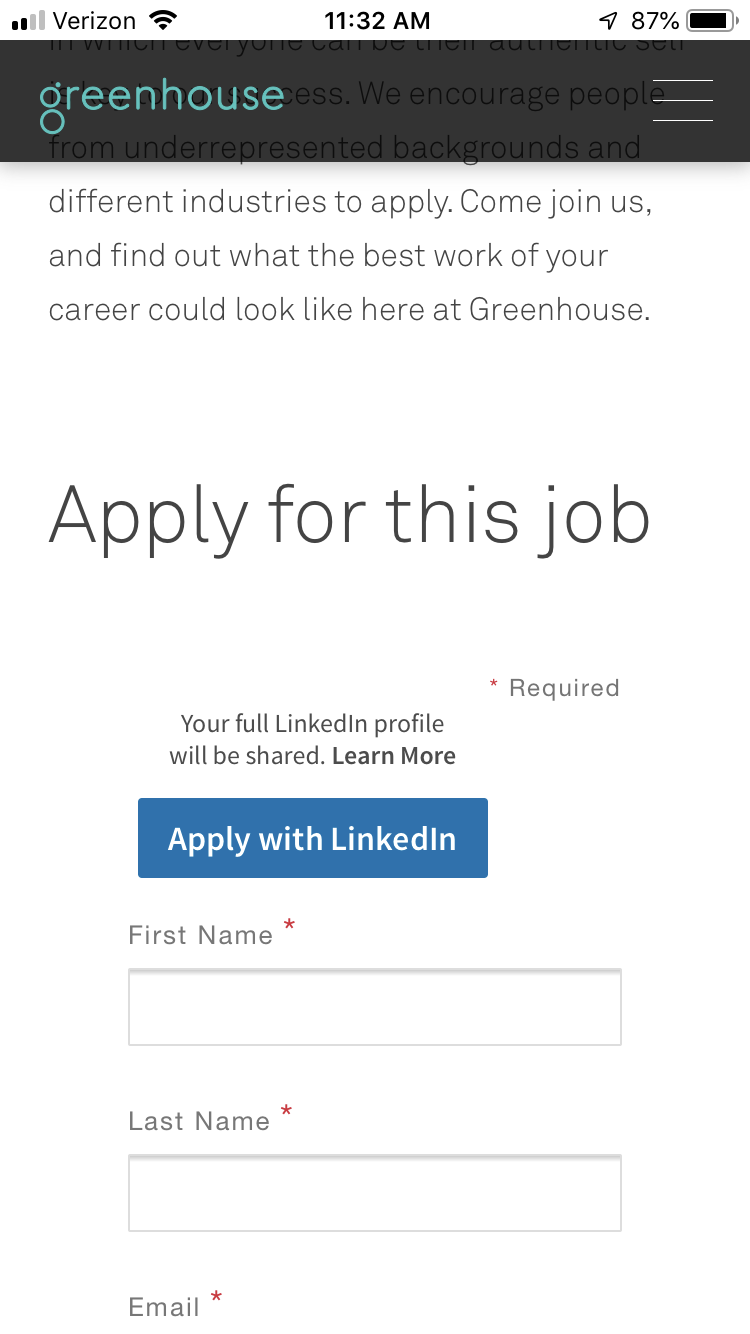 Greenhouse Mobile Apply - Sits directly below the job description
